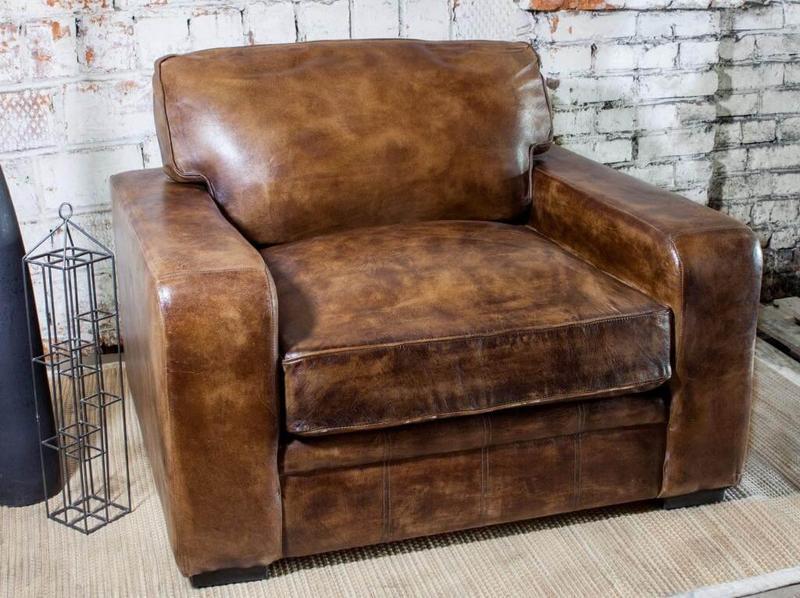 Винтажное кожаное кресло SF5052