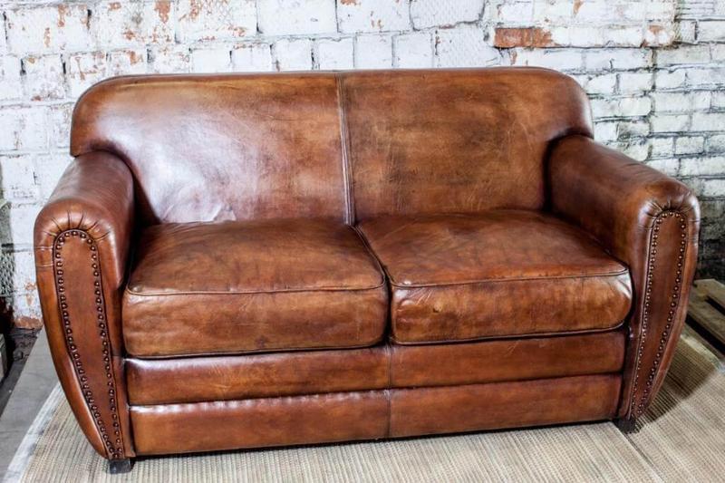 Винтажный кожаный 2-х диван SF5058
