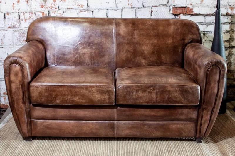 Винтажный кожаный 2-х диван SF5042